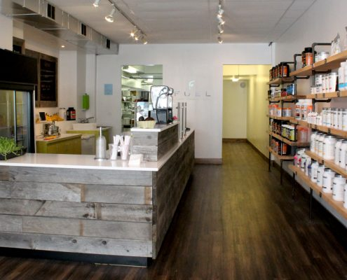Overview shot of smoothie bar
